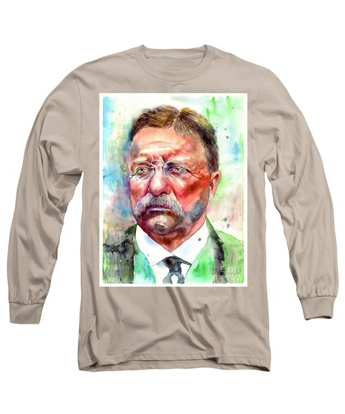 Theodore Roosevelt Watercolor Portrait Long Sleeve T-Shirt