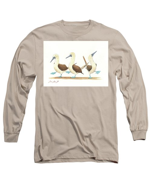 Three Blue Footed Boobies Long Sleeve T-Shirt by Juan Bosco