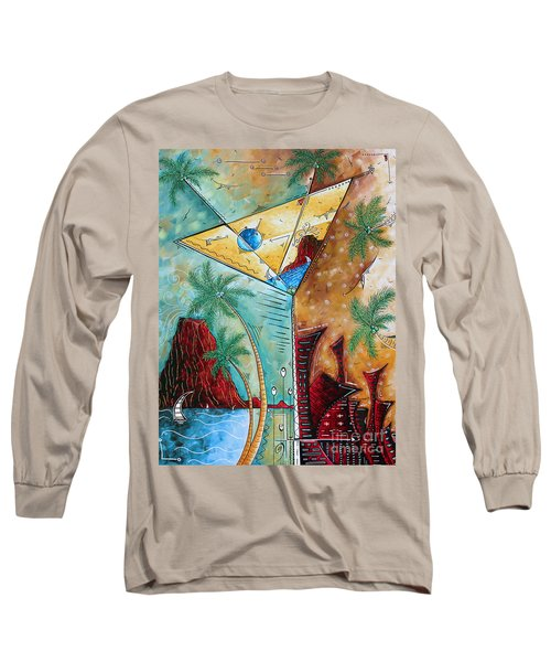 Tropical Martini Original Painting Fun Pop Art Style By Megan Duncanson Long Sleeve T-Shirt