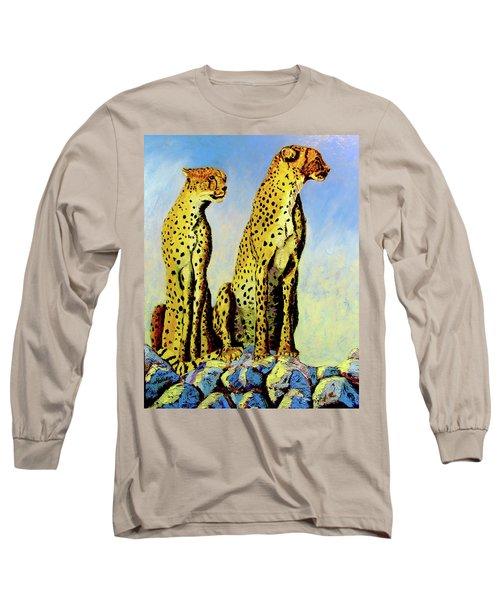 Two Cheetahs Long Sleeve T-Shirt by Stan Hamilton