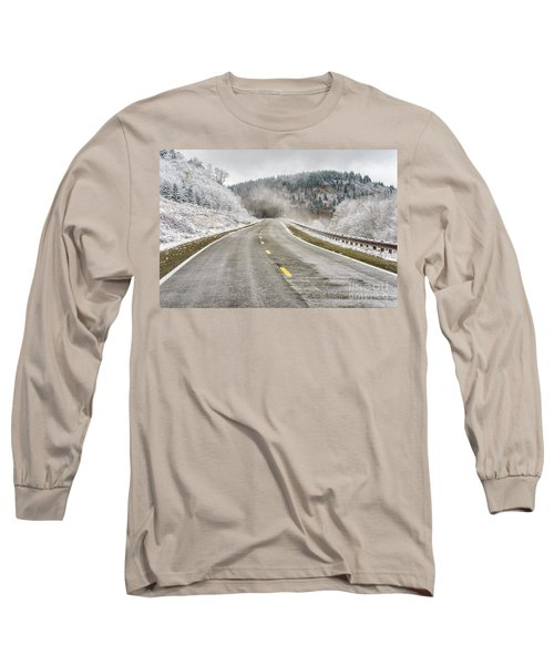Long Sleeve T-Shirt featuring the photograph Unexpected Autumn Snow Highland Scenic Highway by Thomas R Fletcher