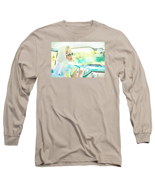 Vintage Val In The Turquoise Vintage Car Long Sleeve T-Shirt