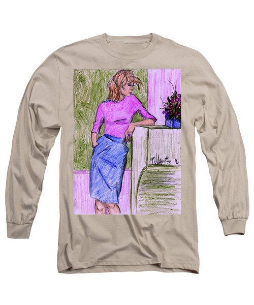 Long Sleeve T-Shirt featuring the drawing Waiting by P J Lewis