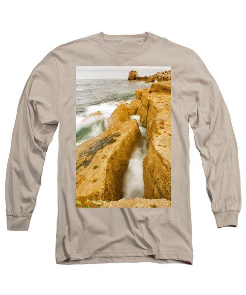 Waves Crashing Over Portland Bill Long Sleeve T-Shirt