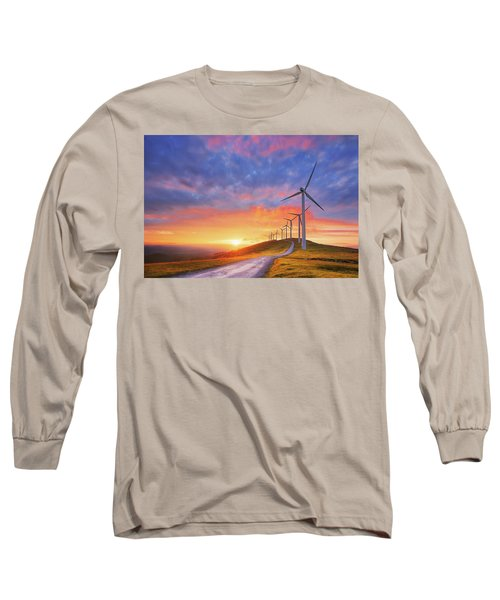 wind turbines in Oiz eolic park Long Sleeve T-Shirt