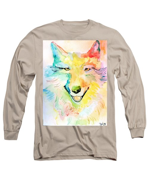 Long Sleeve T-Shirt featuring the painting Wolfie by Denise Tomasura