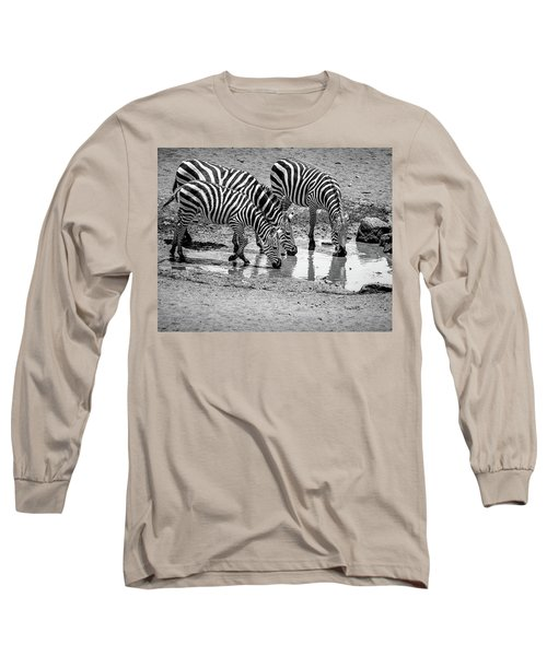 Long Sleeve T-Shirt featuring the photograph Zebras At The Watering Hole by Marion McCristall