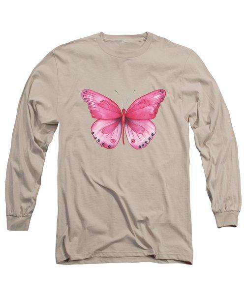 107 Pink Genus Butterfly Long Sleeve T-Shirt