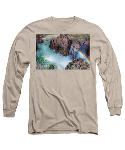 10883 Rainbow Over Owyhee Long Sleeve T-Shirt by Pamela Williams
