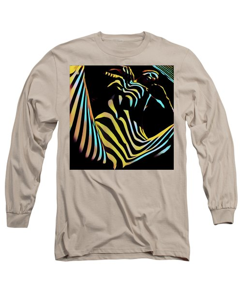 1149s-ak Dramatic Zebra Striped Woman Rendered In Composition Style Long Sleeve T-Shirt