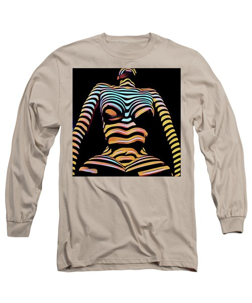 1205s-mak Seated Figure Zebra Striped Nude Rendered In Composition Style Long Sleeve T-Shirt
