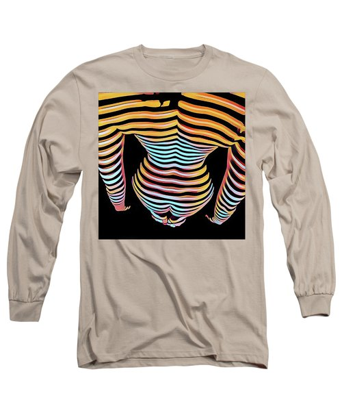 1262s-mak Woman's Strong Shoulders Back Hips Rendered In Composition Style Long Sleeve T-Shirt