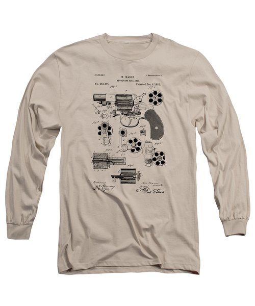 Long Sleeve T-Shirt featuring the drawing 1881 Colt Revolving Fire Arm Patent Artwork Vintage by Nikki Marie Smith