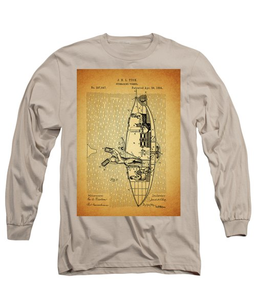 1884 Submarine Ship Patent Long Sleeve T-Shirt by Dan Sproul