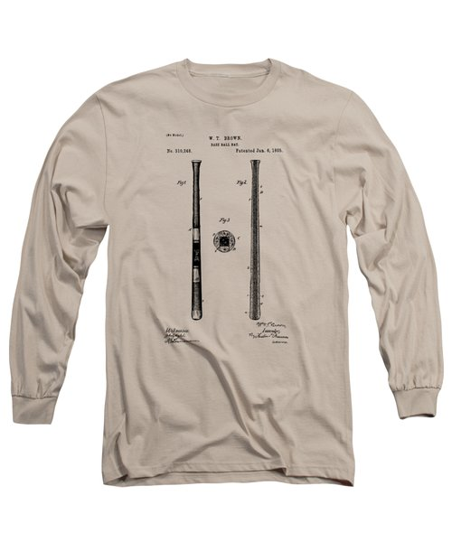 1885 Baseball Bat Patent Artwork - Vintage Long Sleeve T-Shirt by Nikki Marie Smith