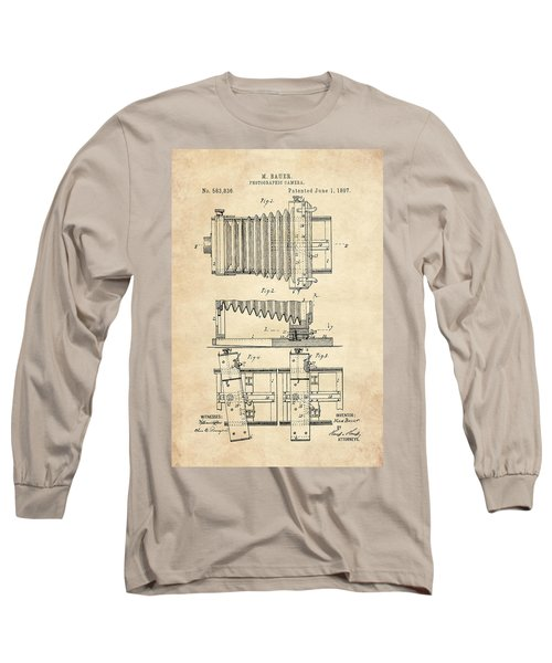 1897 Camera Us Patent Invention Drawing - Vintage Tan Long Sleeve T-Shirt
