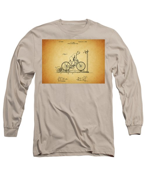 1900 Bicycle Exercise Stand Long Sleeve T-Shirt by Dan Sproul
