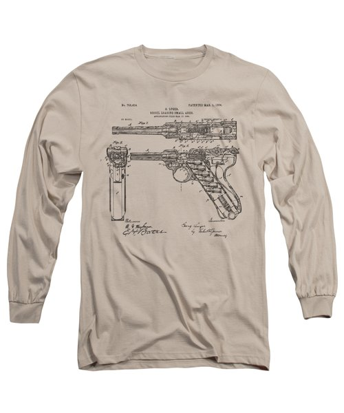Long Sleeve T-Shirt featuring the drawing 1904 Luger Recoil Loading Small Arms Patent - Vintage by Nikki Marie Smith