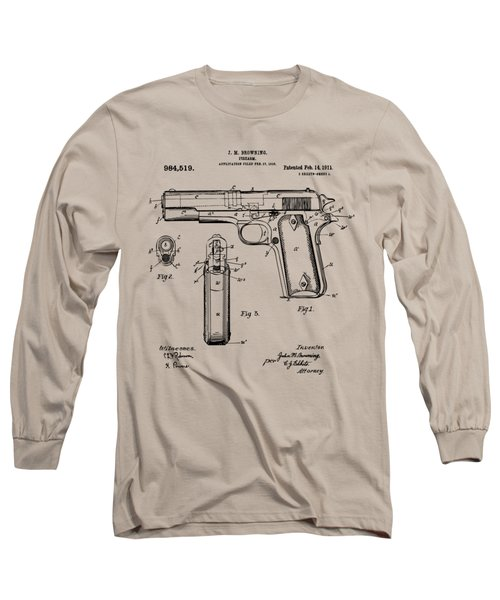 1911 Colt 45 Browning Firearm Patent Artwork Vintage Long Sleeve T-Shirt by Nikki Marie Smith