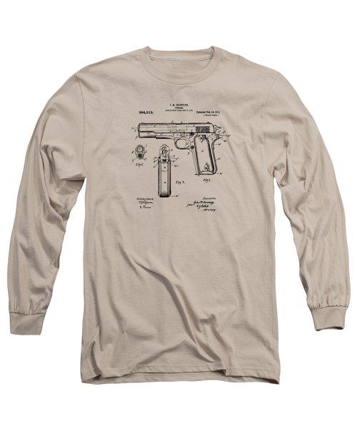 1911 Colt 45 Browning Firearm Patent Artwork Vintage Long Sleeve T-Shirt