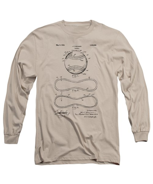 Long Sleeve T-Shirt featuring the drawing 1928 Baseball Patent Artwork Vintage by Nikki Marie Smith