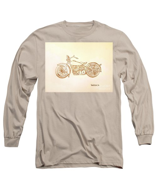 1928 Harley Davidson Motorcycle Graphite Pencil - Sepia Long Sleeve T-Shirt by Scott D Van Osdol