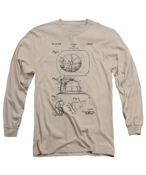 Long Sleeve T-Shirt featuring the drawing 1932 Fireman Helmet Artwork Vintage by Nikki Marie Smith