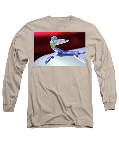 Long Sleeve T-Shirt featuring the photograph 1933 Plymouth Hood Ornament -0121rc by Jill Reger