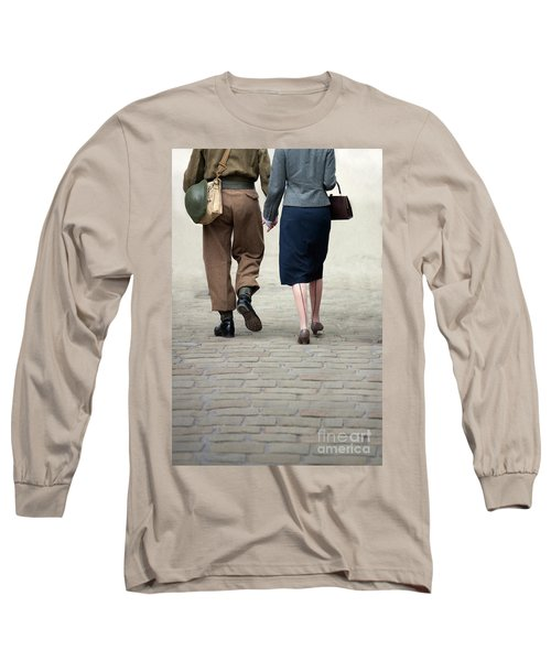 1940s Couple Soldier And Civilian Holding Hands Long Sleeve T-Shirt by Lee Avison