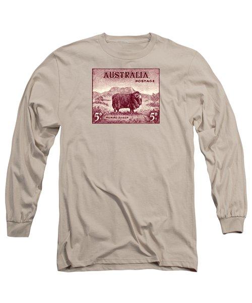 1946 Australian Merino Sheep Stamp Long Sleeve T-Shirt by Historic Image