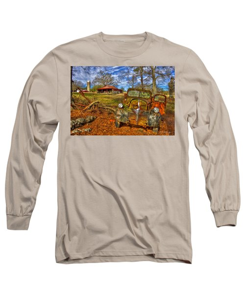 1947 Dodge Dump Truck Country Scene Art Long Sleeve T-Shirt by Reid Callaway
