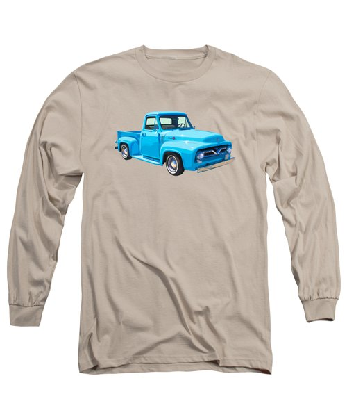 1955 Ford F100 Blue Pickup Truck Canvas Long Sleeve T-Shirt