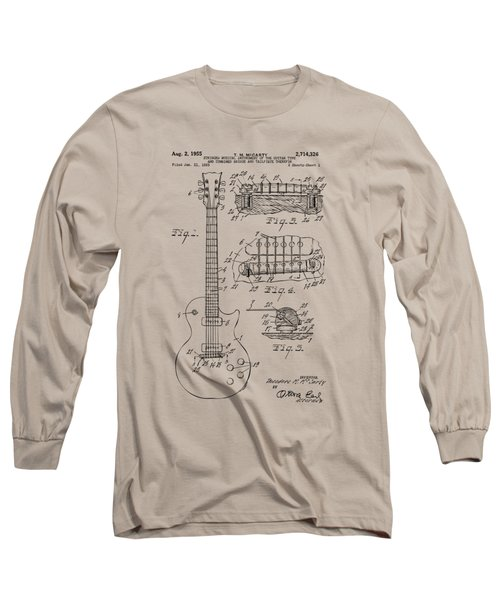 Long Sleeve T-Shirt featuring the drawing 1955 Mccarty Gibson Les Paul Guitar Patent Artwork Vintage by Nikki Marie Smith