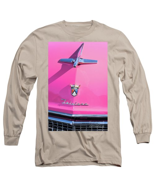 1955 Pink Ford Fairlane Hood Ornament Long Sleeve T-Shirt by Aloha Art