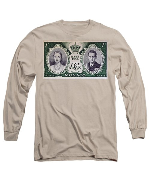 1956 Princess Grace Of Monaco Stamp II Long Sleeve T-Shirt by Bill Owen