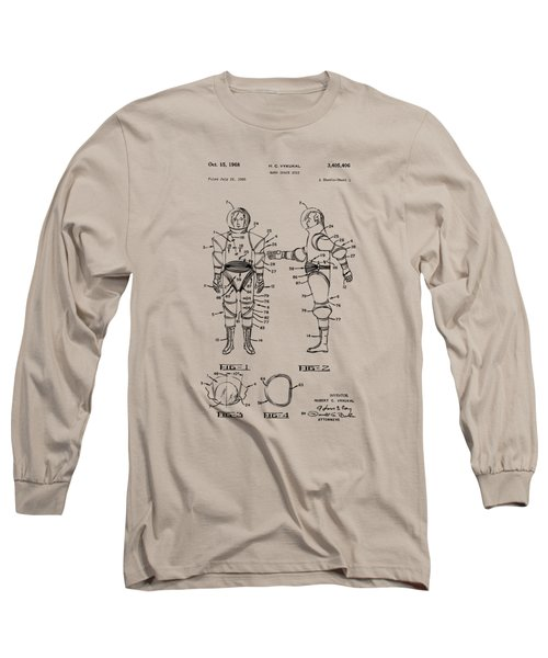 1968 Hard Space Suit Patent Artwork - Vintage Long Sleeve T-Shirt by Nikki Marie Smith