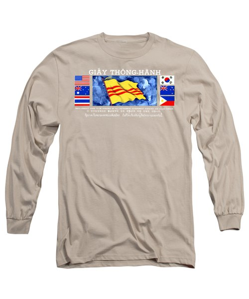 Long Sleeve T-Shirt featuring the painting 1968 Vietnam War Safe Conduct Pass by Historic Image