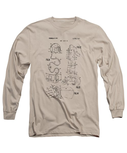1973 Space Suit Elements Patent Artwork - Vintage Long Sleeve T-Shirt by Nikki Marie Smith