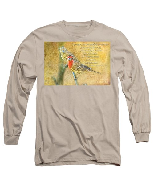 A Pair Of Housefinches With Verse Part 2 - Digital Paint Long Sleeve T-Shirt by Debbie Portwood