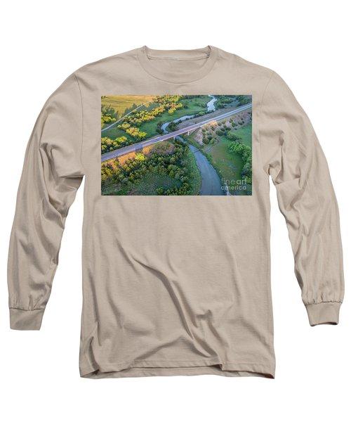 aerial view of Dismal River in Nebraska Long Sleeve T-Shirt