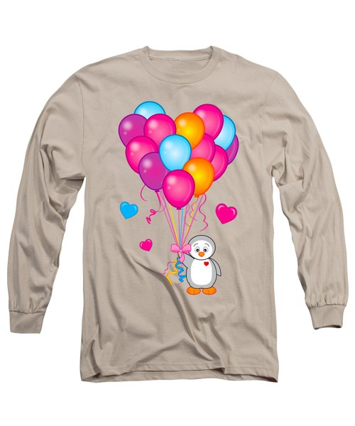 Baby Penguin With Heart Balloons Long Sleeve T-Shirt by A