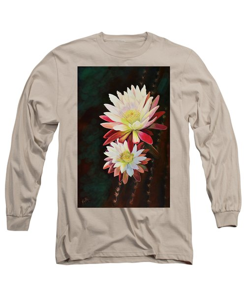 Long Sleeve T-Shirt featuring the painting Cereus Business by Marilyn Smith