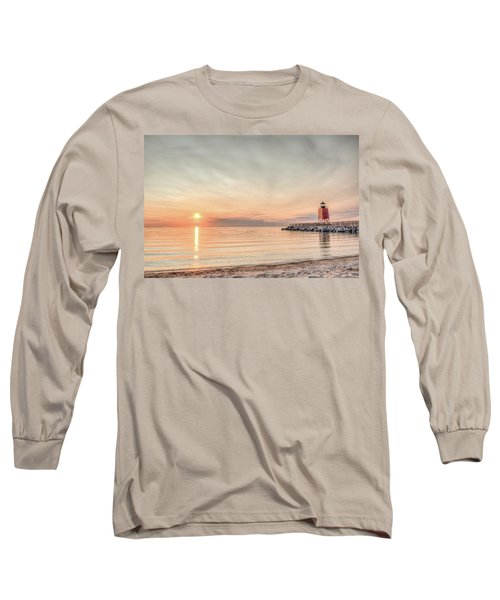 Charelvoix Lighthouse In Charlevoix, Michigan Long Sleeve T-Shirt by Peter Ciro