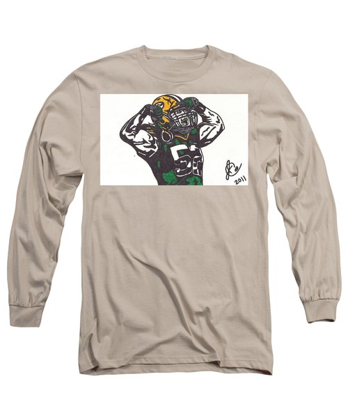 Long Sleeve T-Shirt featuring the drawing Clay Matthews 2 by Jeremiah Colley