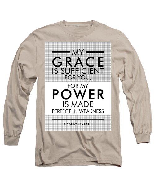 2 Corinthians 12-9 - Spiritual Wall Art - Bible Verses Art - Minimalist Scripture Long Sleeve T-Shirt