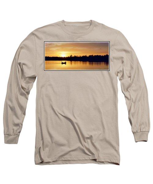 Fishermen On A Lake At Sunset Long Sleeve T-Shirt