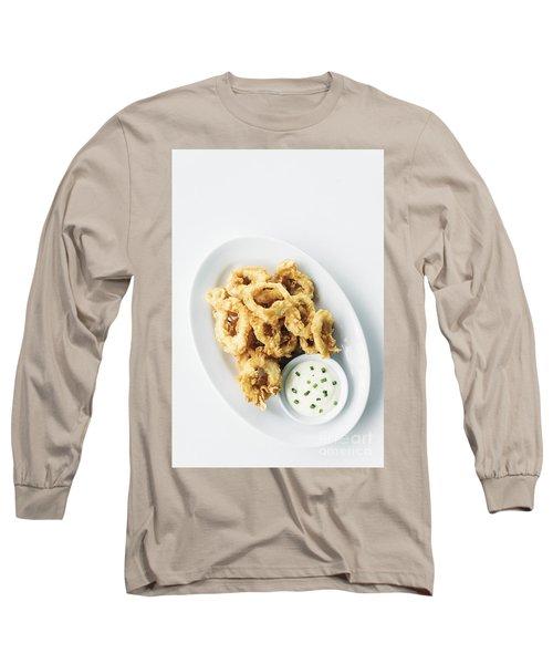 Fried Calamari Squid Rings With Aioli Garlic Sauce Long Sleeve T-Shirt