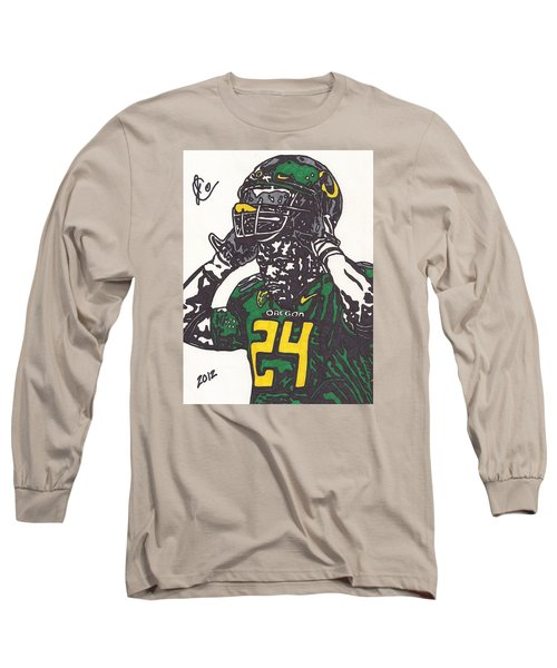 Long Sleeve T-Shirt featuring the drawing Kenjon Barner 1 by Jeremiah Colley