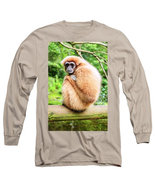 Long Sleeve T-Shirt featuring the photograph Lar Gibbon by Alexey Stiop