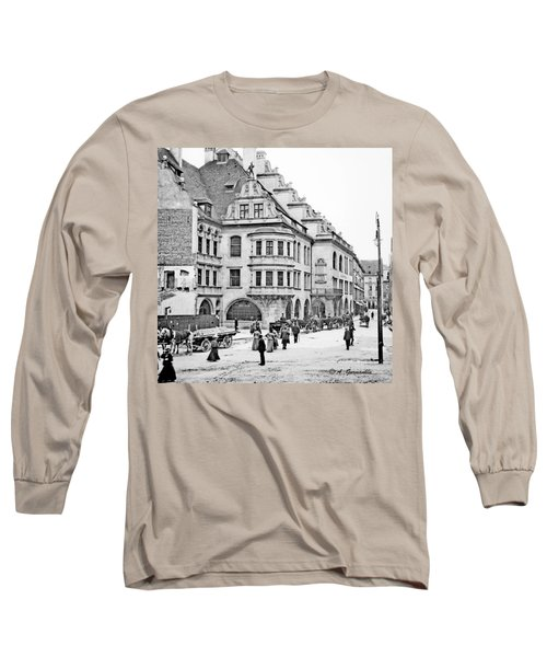 Long Sleeve T-Shirt featuring the photograph Munich Germany Street Scene 1903 Vintage Photograph by A Gurmankin